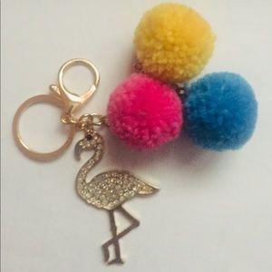 Flamingo with Pom Poms Keychain